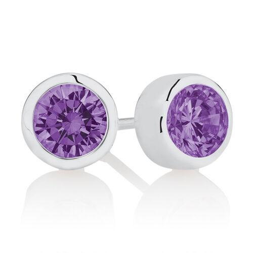 February Stud Earrings with Purple Cubic Zirconia in Sterling Silver