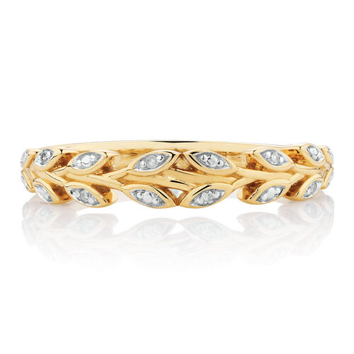 Diamond Set Leaf Stacker Ring in 10ct Yellow Gold