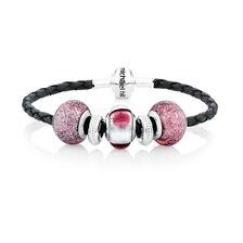 Purple Glass & Sterling Silver Charm Bracelet