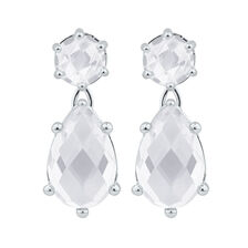 Drop Earrings with Cubic Zirconia in Sterling Silver