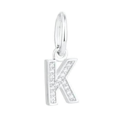 """K"" Initial Mini Pendant with Cubic Zirconia in Sterling Silver"