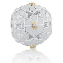 Flower Pattern Charm with White Enamel & Cubic Zirconia in 10ct Yellow Gold & Sterling Silver