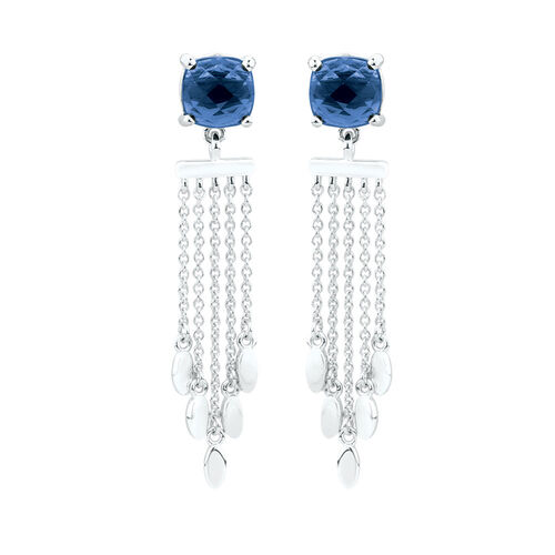 Tassel Drop Earrings with Blue Crystal in Sterling Silver