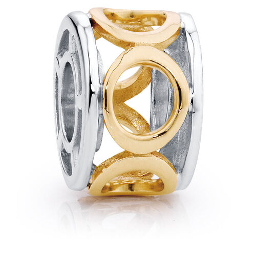 10ct Yellow Gold & Sterling Silver Circle Charm