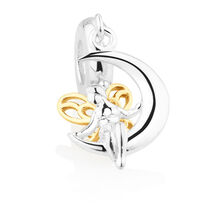 Fairy & Moon Dangle Charm in Sterling Silver & 10ct Yellow Gold