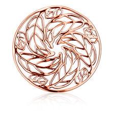 Leaf Pattern Coin Locket Insert in 10ct Rose Gold