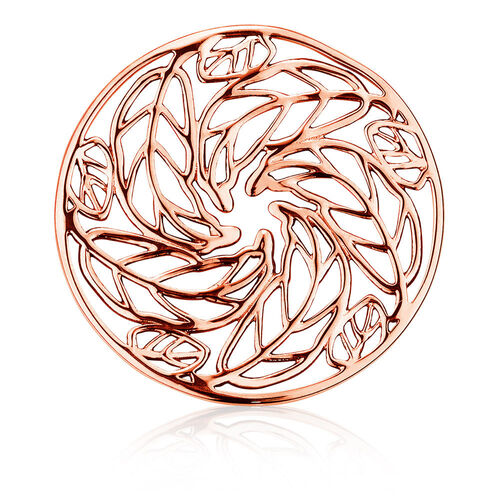 Leaf Pattern Coin Locket Insert in 10ct Rose Gold