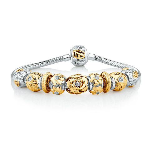 "19cm (7.5"") Diamond Set Ready To Wear Bracelet with 9 Charms in Sterling Silver & 10ct Yellow Gold"