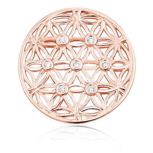 Cubic Zirconia & 10ct Rose Gold Flower Pattern Coin Locket Insert