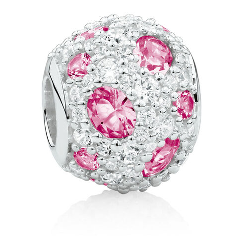 Charm with Pink Crystal & Cubic Zirconia in Sterling Silver