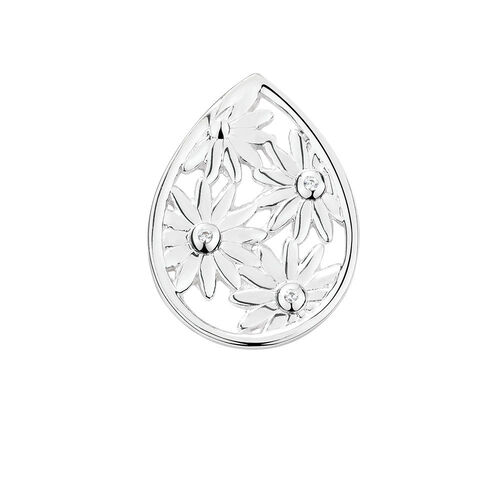 Daisy Mini Coin Locket Insert with Cubic Zirconia in Sterling Silver
