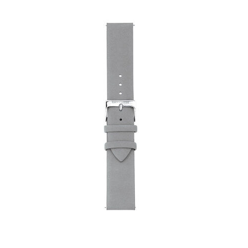 Large Watch Strap in Light Blue Leather & Stainless Steel