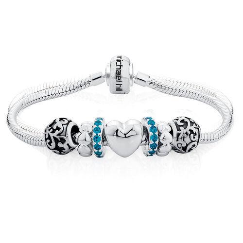 "Blue Cubic Zirconia & Sterling Silver 19cm (7.5"") Charm Bracelet"