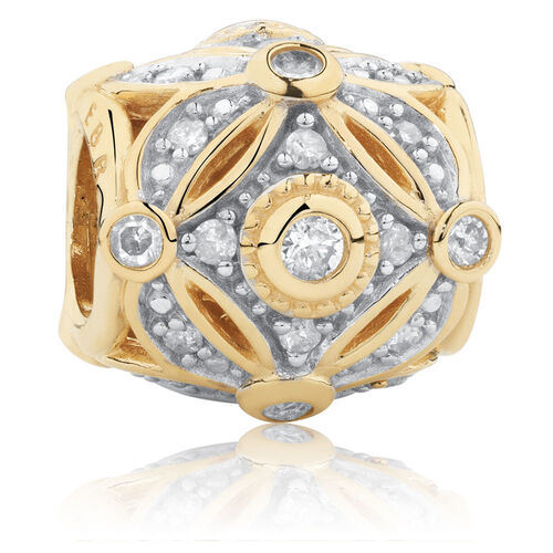 Art Deco Charm with 0.27 Carat TW of Diamonds in 10ct Yellow Gold