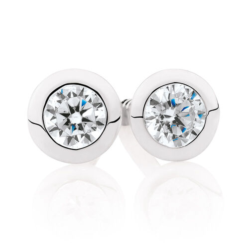 Cubic Zirconia & Sterling Silver Stud Earrings