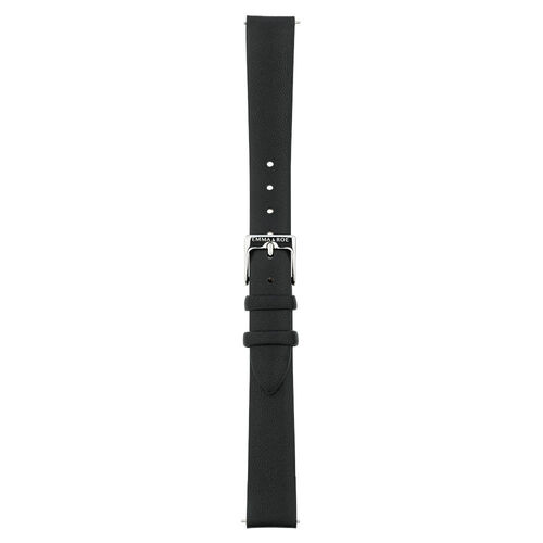 Small Watch Strap in Black Leather & Stainless Steel