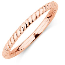 10ct Rose Gold Rope Stack Ring