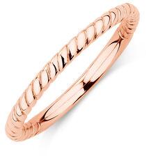 10ct Rose Gold Rope Stack Ring