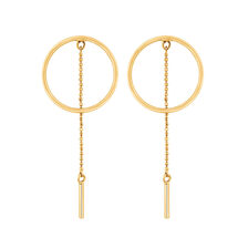 Circle & Bar Drop Earrings in 10ct Yellow Gold