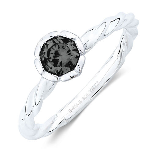September Stacker Ring with Black Cubic Zirconia in Sterling SilverSeptember Stacker Ring with Black Cubic Zirconia in Sterling Silver