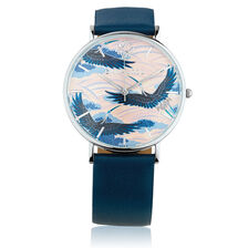 Stainless Steel Watch with Navy Leather
