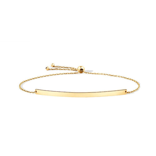 "19cm (7.5"") Adjustable Bar Bracelet in 10ct Yellow Gold"