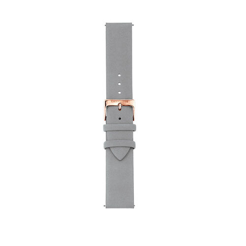 Large Watch Strap in Light Blue Leather & Rose Tone Stainless Steel
