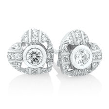 Stud Earrings & Heart Earring Enhancers Set with Cubic Zirconia in Sterling Silver