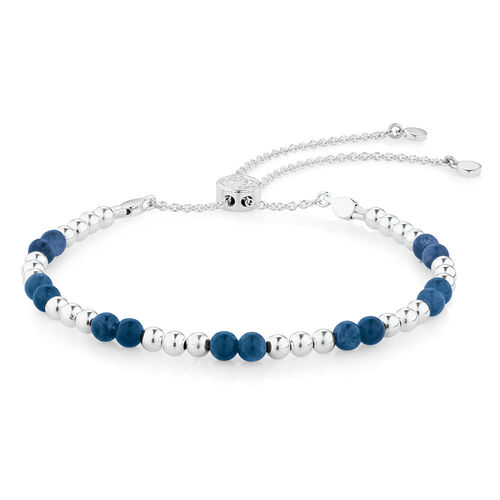 Adjustable Bracelet with Natural Blue Stone in Sterling Silver