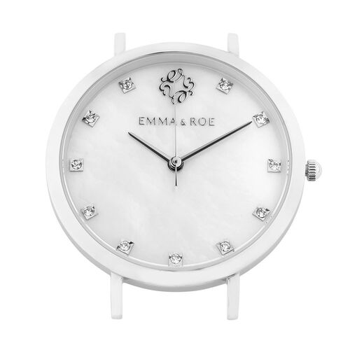 Small Watch Face with Crystals & Mother of Pearl in Stainless Steel