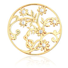 Diamond Set 10ct Yellow Gold Flower & Leaf Coin Locket Insert