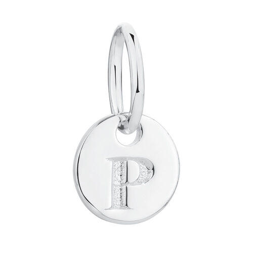 """P"" Initial Mini Pendant in Sterling Silver"