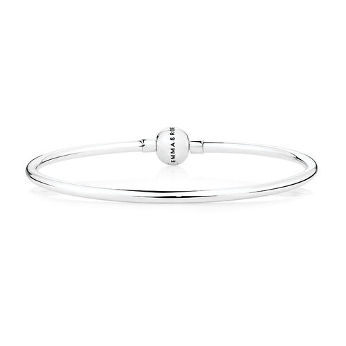 "Sterling Silver 19cm (7.5"") Charm Bangle"