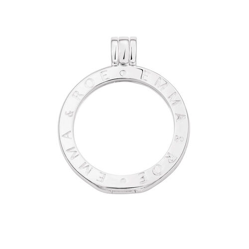 Sterling Silver 'Emma & Roe' Engraved Coin Locket Frame