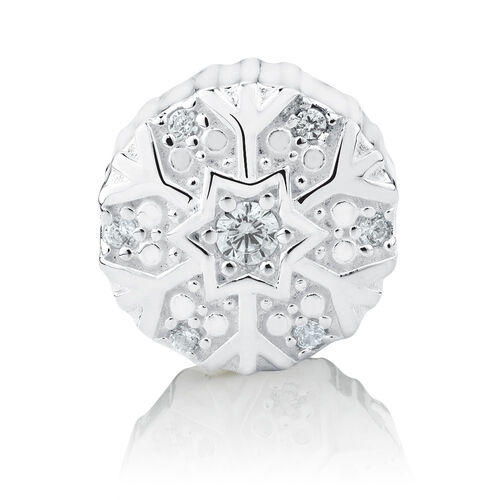 Snowflake Charm with Cubic Zirconia in Sterling Silver
