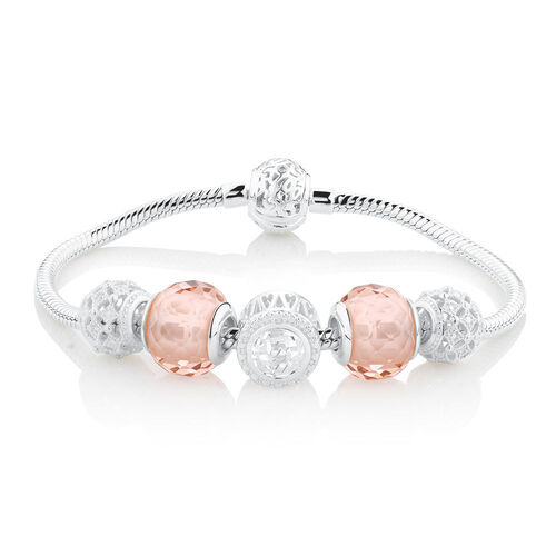 Starter Charm Bracelet with Cubic Zirconia & Blush Crystal in Sterling Silver