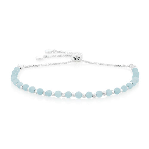 "19cm (7.5"") Adjustable Bracelet with Amazonite in Sterling Silver"