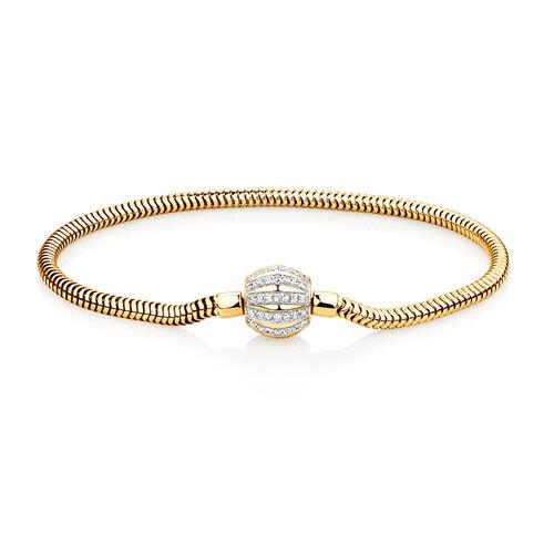 "19cm (7.5"") Charm Bracelet with 0.53 Carat TW of Diamonds in 10ct Yellow Gold"