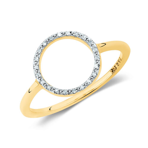 Diamond Set Circle Ring in 10ct Yellow Gold