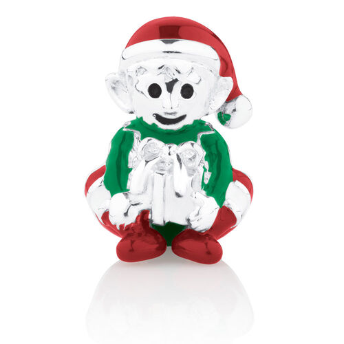 Elf Charm with Red & Green Enamel in Sterling Silver