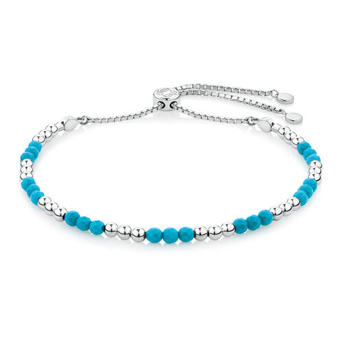 Adjustable Protection Bracelet with Enhanced Blue Turquoise in Sterling Silver