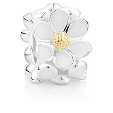Enamel, 10ct Yellow Gold & Sterling Silver Daisy Charm