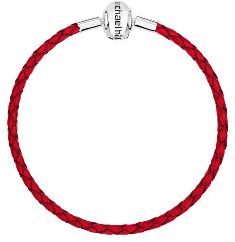 "Red Leather 21cm (8.5"") Charm Bracelet"