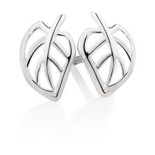 Leaf Stud Earrings with White Enamel in Sterling Silver