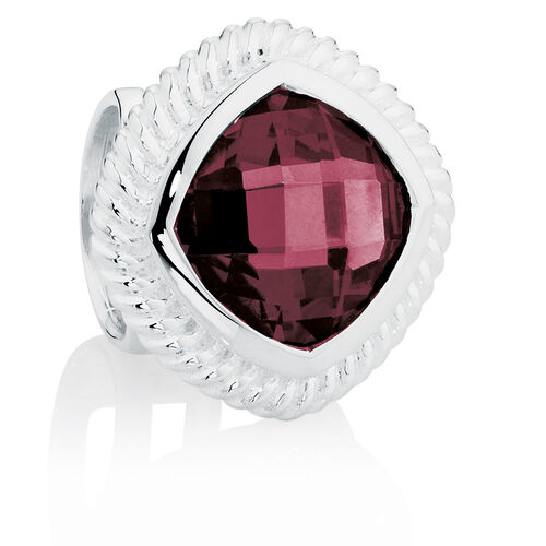 Burgundy Cubic Zirconia & Sterling Silver Wild Hearts Charm