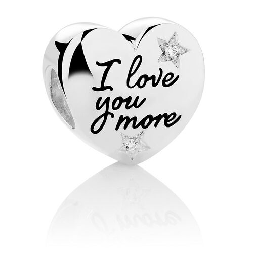 I Love You More...' Heart Charm with Cubic Zirconia in Sterling Silver