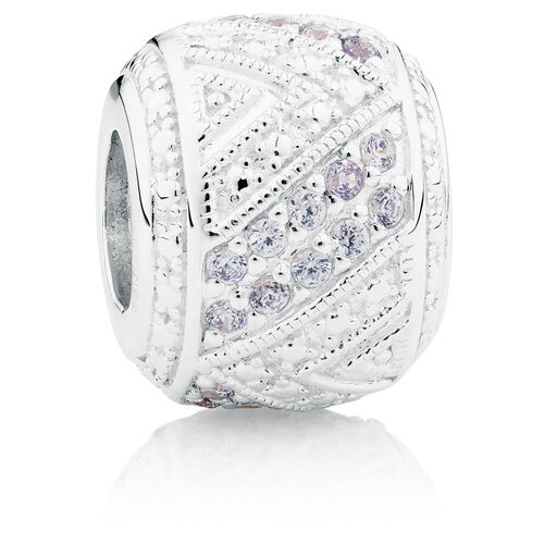 Lilac & White Cubic Zirconia & Sterling Silver Charm