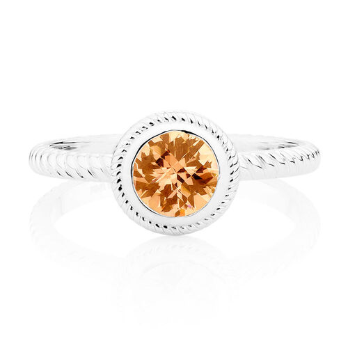 Patterned Champagne Cubic Zirconia Stack Ring