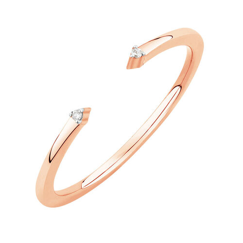 Diamond Set Open Stacker Ring in 10ct Rose Gold
