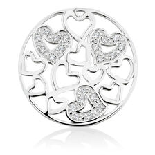 Heart Pattern Coin Locket Insert with Cubic Zirconia in Sterling Silver